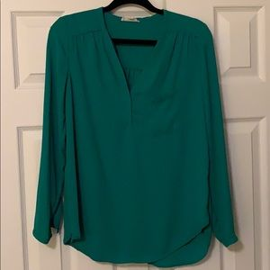 Pleione Green Long Sleeve Blouse